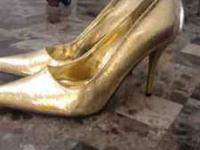 NICE GOLD HIGH HEELS IS SIZE 10----$10.00 CALL OR TEXT