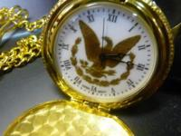 "Gold Tone Pocket Watch. Approx. 115/16"" Diameter -"