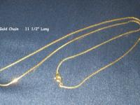 "Gold Chain necklace is 11 1/2"" long when it is closed."