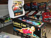 Up for sale is an extremely nice Golden Cue pinball