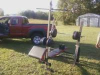 Golds Gym weight bench, appx 120lbs of weights. Bench