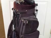Golf clubs for sale and an orbit golf bag. Here is a