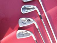 FOR SALE ARE 4 USED #6 GOLF IRONS . THREE ARE PING AND