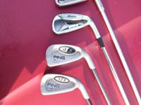 FOR SALE ARE 4 #6 GOLF IRONS  , THREE PING ONE