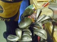 FULL SET OF IRONS AND WOODS / WITH BAG ALL TOGETHER -
