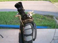 Knight Performance Golf clubs, bag, and cart - good