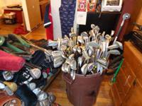 Golf clubs, irons, putters, bags. Old woods. Prices