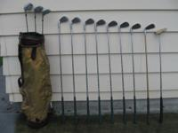 golf clubs, mens right hand, complete set & bag 3-metal