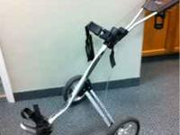 Lightweight push cart made by BagBoy. Easy to get going
