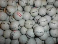 Used range golf balls. Most of them are practice balls