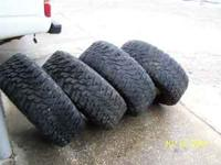 I HAVE FOUR WRANGLER MT 33X12:50-15 TIRES MOUNTED ON