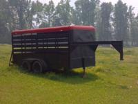 14 ft gooseneck stock trailer new floor and tires. in