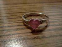 Gordons ring. 10k with pink heart stone. $85 firm. .