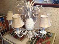 "Shabby chic ""Pineapple"" chandelier. Dumask fabric light"