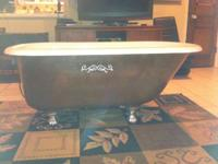 Gorgeous 4.5 foot antique cast iron clawfoot bath tub