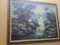 "Gorgeous Blue and White Water View Painting - 55"" x"