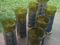 1960's Rare Vintage handcrafted green glasses and