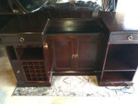 Gorgeous, solid, mahogany wood bar with lots of