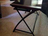 Modern styled lovely desk for sale-- dark glass top,