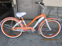 Gorgeous Orange Women's Beach Cruiser Bicycle on