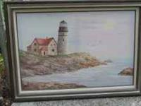 Gorgeous handpainted lighthouse scene. Picture does not