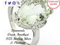 Genuine Diamonds & Green Amethyst, Solid .925 Sterling