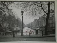 Framed black and white with red bicycle 39 1/2 H x 55