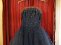 strapped navy ball gown pageant dress. tag says the