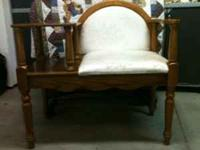 Wood with padded seat gossip bench. Excellent