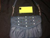 Grace Adele Teal Rae Clutch studded with metal and