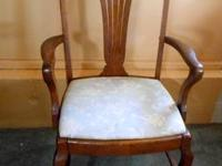 GRACEFUL ANTIQUE OAK ARM CHAIR, UPHOLSTERED CUSHIONED