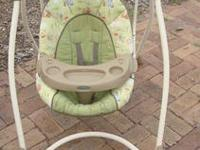 This swings works great has an animal print fabric has