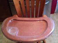 GRACO GROW-WITH-ME SOLID RED WOOD HIGHCHAIR FOR SALE.