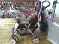Graco Metro-Lite Travel System....Pink and Brown. Used