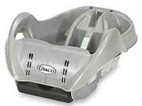Graco SnugRide infant car seat base in silver.
