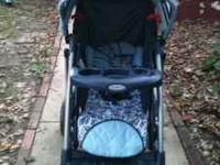 Blue Graco stroller & Brown EvenFlo Infant CarSeat,
