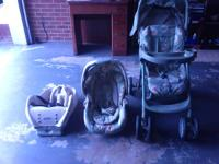 Graco Winnie the pooh stroller with car seat and base