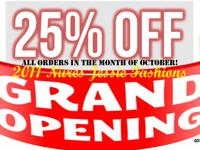 Grand Opening, all orders 25% off month of October!! If