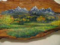 This oil painting of the Grand Tetons is unique because