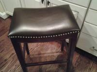 Leather and wood barstool. Counter height. Excellent
