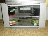 Silver/Gray TV Entertainment Stand with glass front