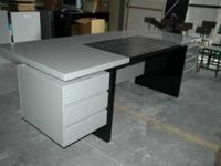 SIGNIFICANT gray desk, original 80's, imported Italian,