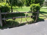 """These two 45"""" steel wheels came off of an old farm hay"""