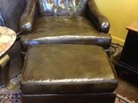 Great Century Modern Leather Chair and Ottoman $595