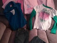 photo 1 girls med 7/8 4 t-shirts 1 pant size 81/2 8.00