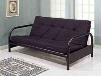 solid metal black frame futon white( unlike picture) 8""