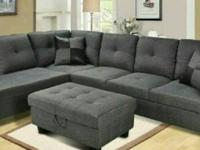 Brand new gray denim sectional sofa with free storage