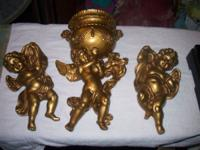 For sale is a vintage 60's -70's gold cherubs lot 1st