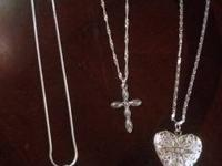 Sterling silver necklaces with silver plated heart