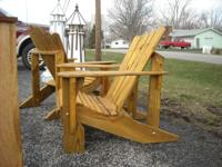 Very solid, large Adirondack chairs. Made from treated